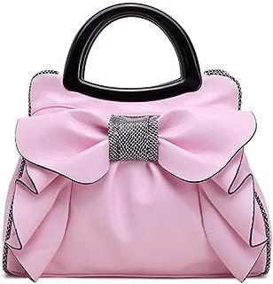 Women's Simple Sweet Lady Bag Bow Handbag Fashion Shoulder Crossbody Bag Candys house (Color : Pink, Size : 34 * 15 * 26cm)