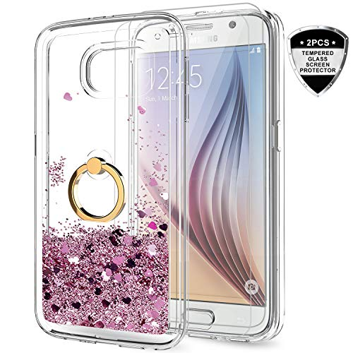 LeYi Samsung Galaxy S6 Case with Tempered Glass Screen Protector [2 Pack] for Girls Women, Cute Glitter Shiny Quicksand Clear Phone Case with Car Holder Kickstand for Samsung S6 ZX Rose Gold