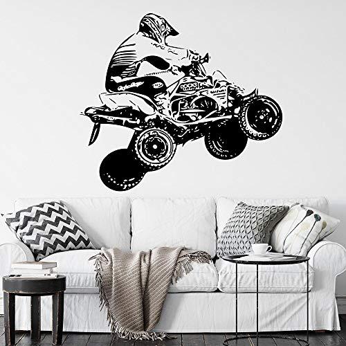 ZRbMR ATV Quad Motor Wandtattoo Motorcross Free Style Dirt Bike Aufkleber Schlafzimmer Sport Wandkunst Motorrad Custom Boys Room Decor 96x84cm