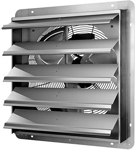 iPower 20.6 X 20.8 Inch Shutter Exhaust Fan Aluminum, High Speed 1190 RPM, 3368 CFM, 1-Pack, Silver