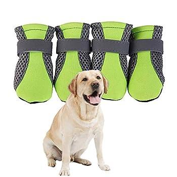 KunLS Chaussons Chien Chaussure pour Chiens Chien Chaussons Chien Pluie Bottes Pet Bottes Chien Chaussures Antidérapant Chien Patte Protecteur Green,XL