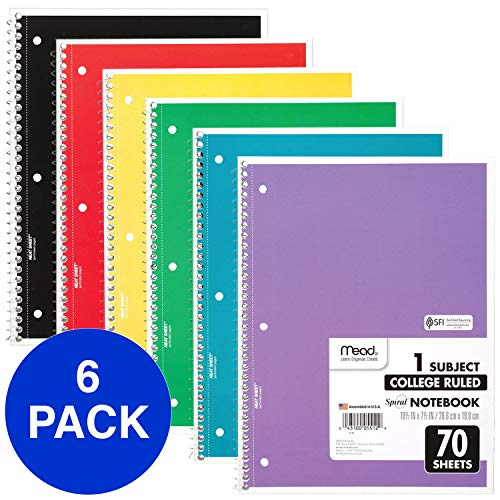 "Mead Spiral Notebooks, 1 Subject, College Ruled Paper, 70 Sheets, Colored Note Books, Lined Paper, Home School Supplies for College Students & K-12, 10 1/2' x 8"", Assorted Colors, 6 Pack (73065)"
