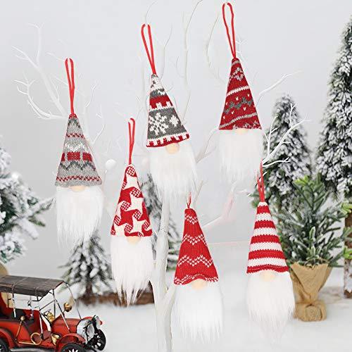 6 pcs Christmas Gnomes, Handmade Hanging Swedish Tomte Elf Scandinavian Santa Gnome Plush Doll for Xmas Gifts,Home Holiday Decorations,Christmas Tree Hanging Ornaments Figurines Supplies