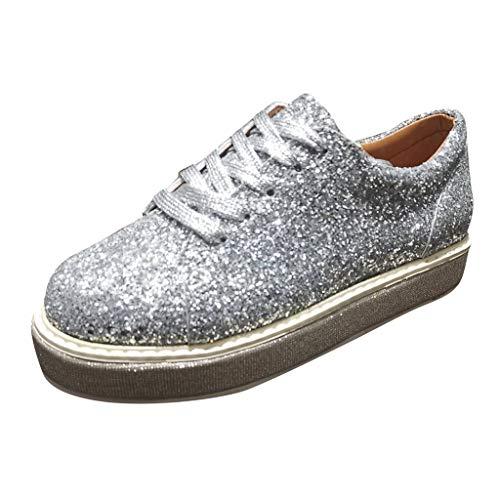 Binggong Glitzer Flache Schuhe Damen Pailletten Sequin Freizeitschuhe Frauen BequemePumps Sneaker Rutschfeste Plateauschuhe