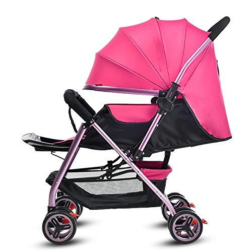 Kinderwagen, lichte kinderwagen met 4 wielen, draagbare vouw-tweeweg-push, kan op een kinderwagen zitten, geschikt voor 0-36 maanden baby rood