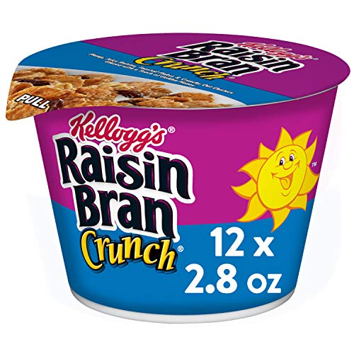 Kellogg#039s Raisin Bran Crunch Breakfast Cereal in a Cup Original Good Source of Fiber Bulk Size 12 Count Pack of 2 168 oz Trays