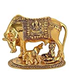 AuratusKraft Gold Plated Metal Kamdhenu Cow and Calf with Krishna for Home Decor and Gifts