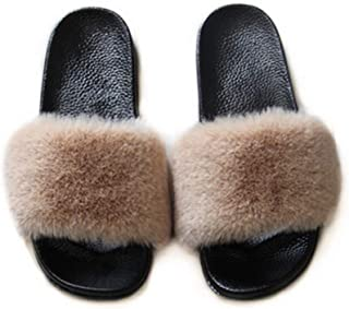 Gegefur Women Faux Fur Rabbit Fur Women's Comfortable Indoor and Outdoor Open Toe PVC Slippers (6, Khaki)