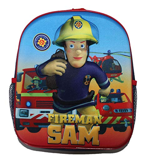 Rucksack Feuerwehrmann Sam mit 3D-Motiv von dem Held Fireman Sam für Mädchen und Jungen – Unisex – mit Hauptfach – Getränkehalter - gepolstert