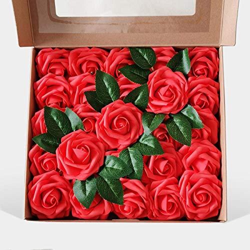 LERT 25 künstliche Rosen, handgemachte künstliche Blumen, Schaumrosen, verwendet für Hochzeitsbrautjungfern, Brautstraußdekorationen, Partydekorationen, Heimdekorationen, Geburtstagsgeschenke (rot)