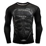 TOYSSKYR Cosplay Superman - Mallas de compresión para hombre, manga larga, lycra, deportivas,...