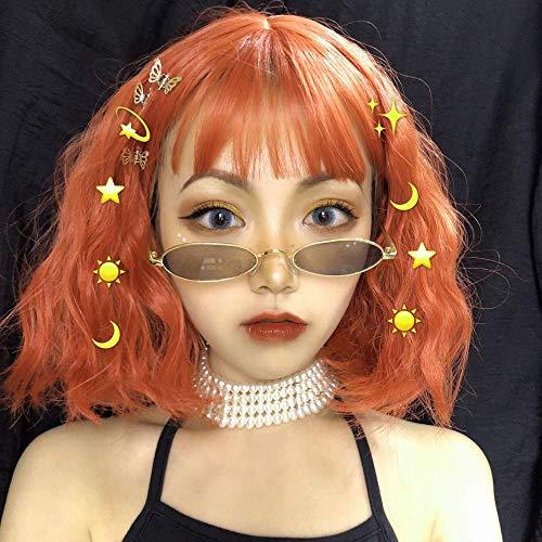 pruiken Pruik vrouwelijk kort haar hoofd rond gezicht lucht pony maïs warm oranje kort krullend haar sleutelbeen haarwol rol