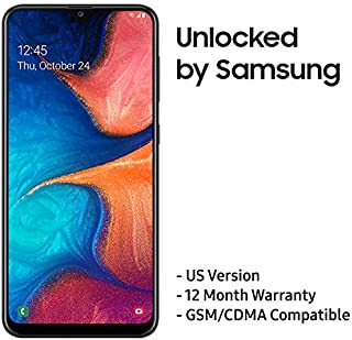 "Samsung Galaxy A20 US Version Factory Unlocked Cell Phone with 32GB Memory, 6.4"" Screen, [SM-A205UZKAXAA], 12 Month Samsung US Warranty, GSM & CDMA Compatible, Black"
