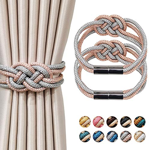NICEEC 2 Pack Strong Magnetic Curtain Tiebacks Upgrade Nordic Style Drape Tie Backs Double Color Weave Rope Knot Decorative Curtain Holdbacks for Home & Office Window Drapery (Light Pink and Grey)