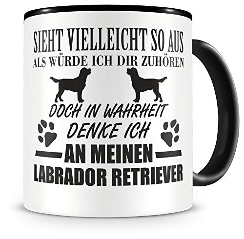 Samunshi® Ich denke an meinen Labrador Retriever Hunde Tasse Kaffeetasse Teetasse Kaffeepott Kaffeebecher Becher