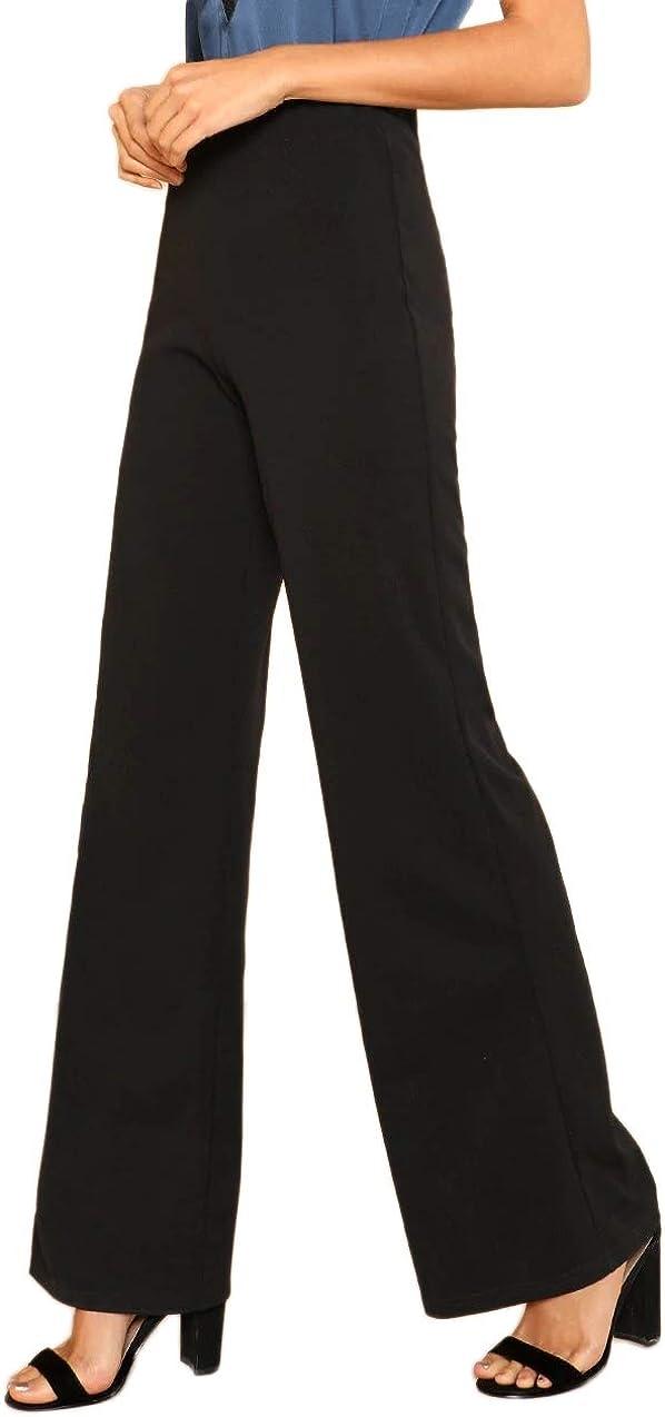 cintura el/ástica pantalones de traje pantalones de oficina DIDK Pantalones de mujer de cintura alta pierna ancha elegantes