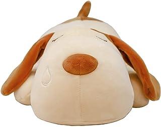 ألعاب الحيوانات المحشوة من القطيفة الناعمة على شكل كلب لطيف رمي تعانق وسادة لعب مريحة رفيق النوم للأطفال 50 سم (بيج)