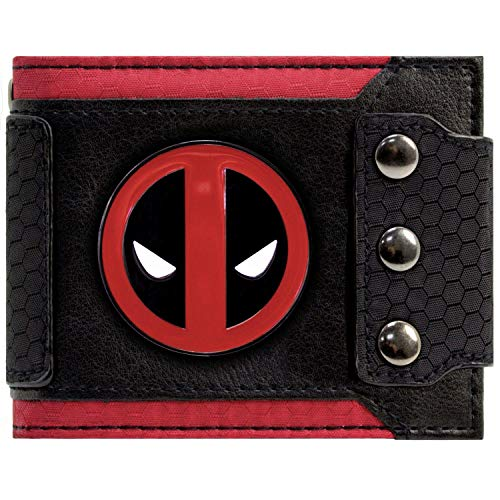 Cartera de Marvel Deadpool Insignia Triple abotonado Negro
