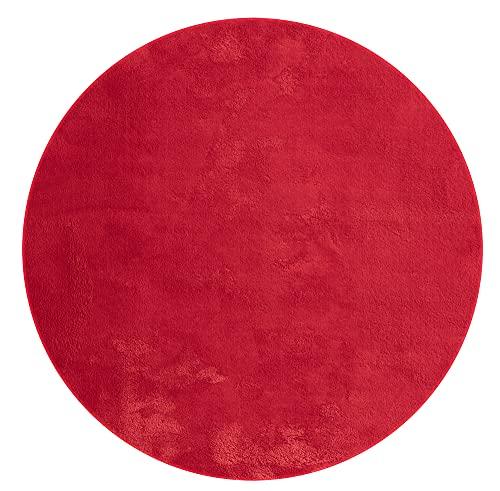 Alfombra moderna de pelo corto de Relax, antideslizante, lavable hasta 30 grados, muy suave, aspecto de piel, rojo, 200 x 200 cm, redonda