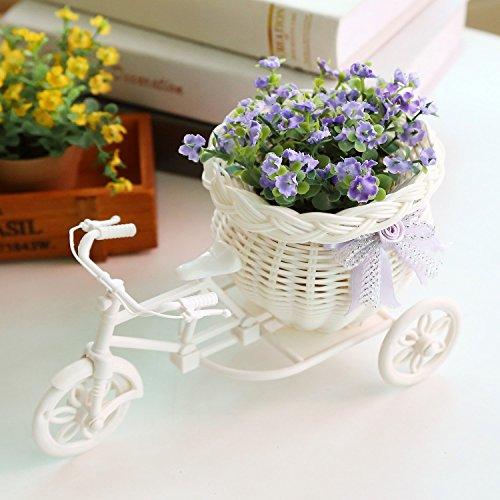 LSD Blumenhalter Kunststoff weiß Dreirad-Design Blumen-Korb Dekoration für Zuhause, Party, Hochzeit, Band mit zufälliger Farbe