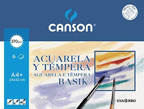 Canson 406347 - Papel para Acuarela, 6 hojas, Blanco, A4