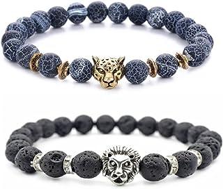 Ricjurzzty 2 PCS Black Lava Stone Bracelets With Tiger and Lion Beads Natural Stones Gemstones Oil Diffuser Yoga Menditati...