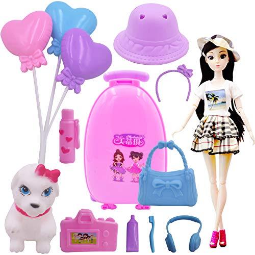 WENTS Accesorios para muñecas de Viaje 15PCS Travel Doll Vamos de Viaje con Perrito muñeca con Accesorios Regalo para niñas y niños 3-9 años Multicolor