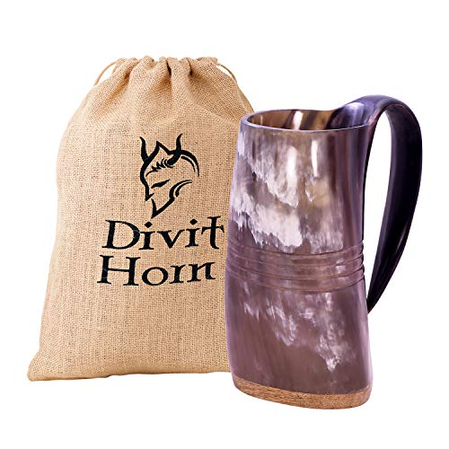Divit Autentico Cuerno Vikingo Jarra - 24 oz. de Capacidad (Eternal, Polished)