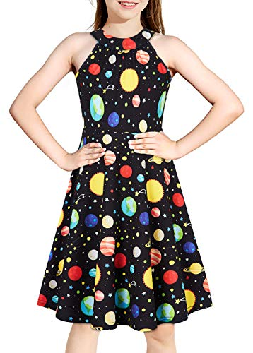 BFUSTYLE Girl Party Dress Galaxy Planet Sundress for Kids Summer Fall Black Dresses Size 10 11