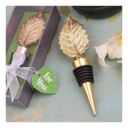 12 Gold Autumn Fall Leaf Wine Bottle Stopper Wedding Bridal Shower Party Favors