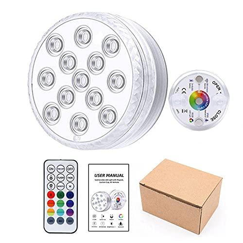 Luces LED para bañera de hidromasaje, accesorios spa impermeables con control remoto RGB baño subacuático, piscina alimentada por luz 16 colores, configuración temporización, ventosa magnética
