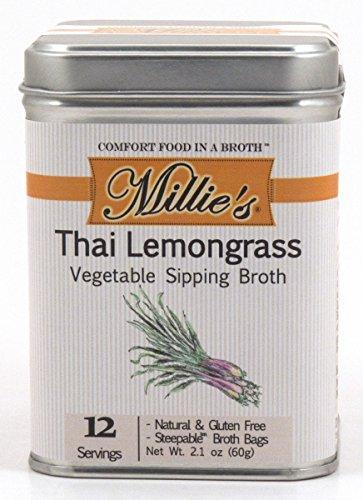 Millie's All Natural Organic Gluten-Free Vegetable Sipping Broth 12 Tea Bags Thai Lemongrass