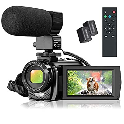 "Video Camera Camcorder, FHD 1080P 30FPS 24MP YouTube Vlogging Camera, 3.0"" Rotation Screen,16X Digital Zoom Video Camcorder with Microphone, Remote Control, 2 Batteries by DGVDO"