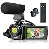 Video Camera Camcorder, FHD 1080P 30FPS 24MP YouTube Vlogging Camera, 3.0' Rotation Screen,16X Digital Zoom Video Camcorder with Microphone, Remote Control, 2 Batteries