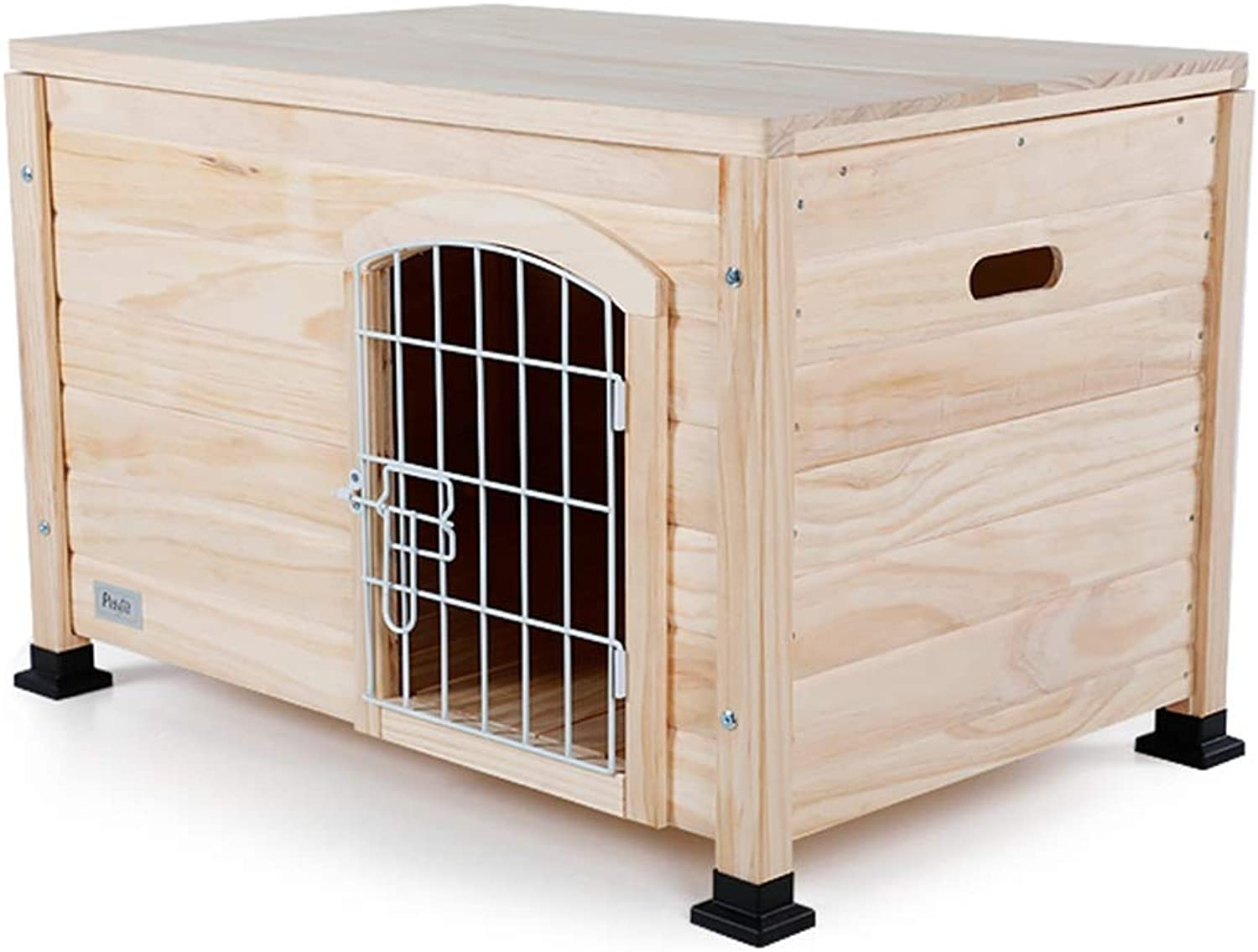 Kennel Dog Houses Pine Closed Pet Nest Outdoor Square Waterproof Four Seasons Suitable For 16 Kg Pets Houses, Crates & Accessories (color   Wood color, Size   78  51.5  51.5cm)