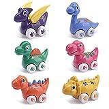 nicknack Juguetes de dinosaurios para coche, 6 piezas Coches de juguetes para niños niñas 1 2 3 años