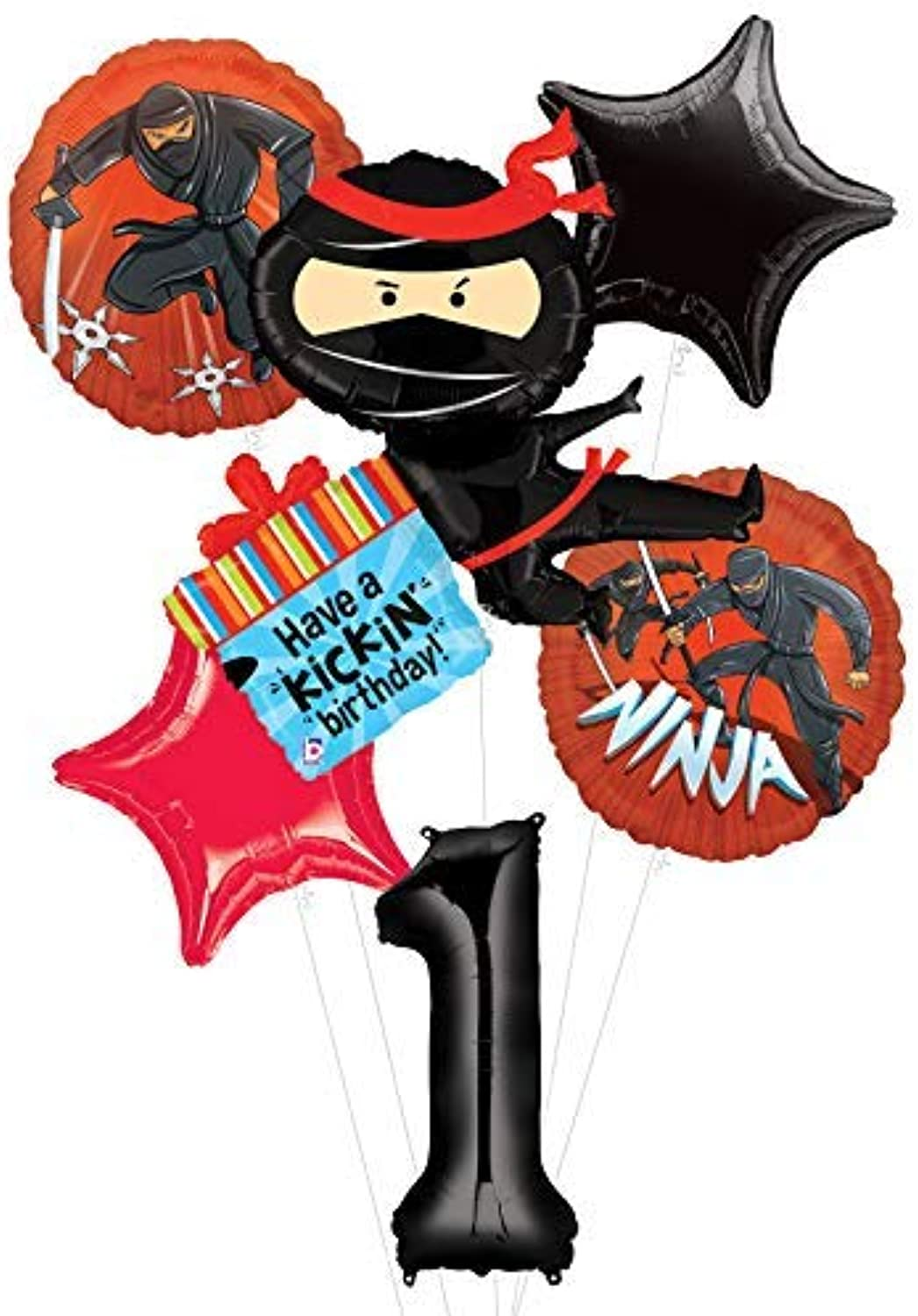 Mayflower Products Ninja Birthday Party Supplies Have A Happy Kicking 1st Birthday Balloon Bouquet Decorations