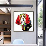ganlanshu Chien de Dessin animé de zèbre coloré Chihuahua sur Toile sur Fond de canapé décoration de la Maison,Peinture sans Cadre,50X50cm