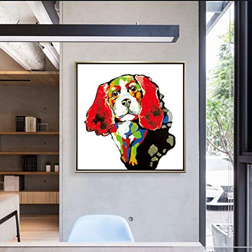 ganlanshu Colorido Cebra Perro Mascota de Dibujos Animados Chihuahua sobre Lienzo sobre Fondo de sofá decoración del hogar,Pintura sin Marco,70X70cm