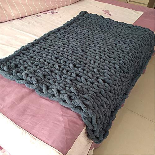 GLITZFAS Manta de punto grueso de lana, manta de punto grueso, manta de punto, manta de punto, manta de punto para el hogar, decoración, regalo para sofá, colcha (gris oscuro, 120 x 150 cm)