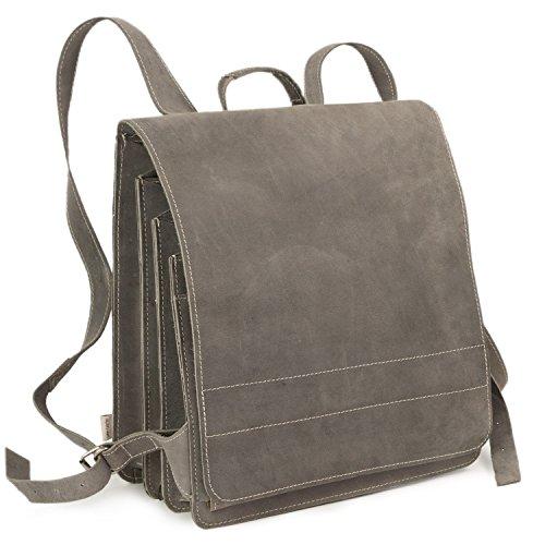 Sehr Großer Lederrucksack Lehrerrucksack Größe XL aus Büffel-Leder, für Damen und Herren, Grau, Modell 670