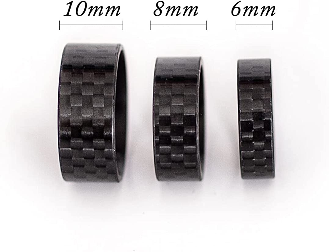 Carbon-By-Charlie 6/8/10mm Handmade 3K Carbon Fiber Ring for Men Women – Carbon Fiber Wedding Band Ring for Men – Unisex Rings Comfort Fit