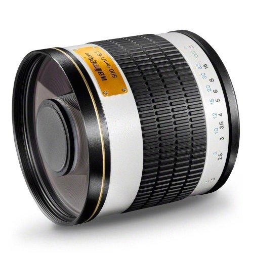 Walimex Pro 500mm 1:6,3 DSLR Spiegel-Teleobjektiv für Sony A Objektivbajonett weiß ( für Vollformat Sensor gerechnet, Filterdurchmesser 34mm, inkl. Schutzdeckel)