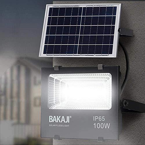 Faro Led Esterno 100W con Pannello Solare Luce Bianco 6000K Ultra-Luminoso 1000LM Lampada Faro Faretto con Telecomando Funzione Timer e Sensore Crepuscolare Faretti Risparmio Energetico IP65