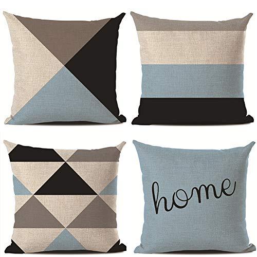CAIJ Juego de 4 fundas de cojín decorativas con diseño geométrico, para sofá, oficina, de algodón y lino (patrón geométrico, 45 x 45 cm) (C)