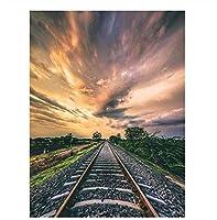 油絵 数字キットによる絵画 塗り絵 大人 手塗り 電車の道の風景- DIY絵 デジタル油絵 40x50 センチ (diyの木製フレーム)