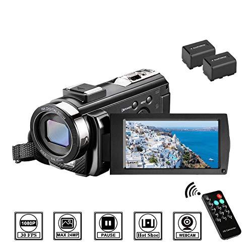 MELCAM Videocamera Youtube Vlogging, Camcorder FHD 1080P 24MP 30FPS 3.0' LCD Schermo Ruotabile 270°, Zoom Digitale 16X Webcam con Telecomando e 2 Batteries