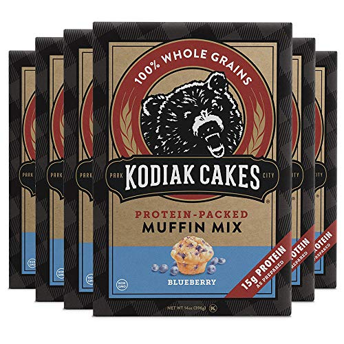 Kodiak Cakes Muffin Mix, Blueberry, 14 Ounce, Pack of 6