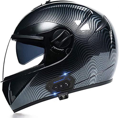 ZLYJ Bluetooth Casco de Motocicleta de Cara Completa Modular Abatible hacia Arriba con Bluetooth Integrado, Casco Bluetooth Modular de Doble Visera, Intercomunicador FM Mp3 Casco Aprobado por ECE A,S