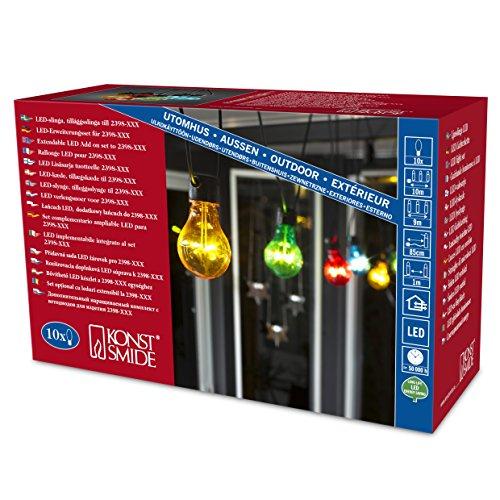Konstsmide 2399-500 LED cadena/guirnalda de bombillas/80 diodos de luz blanca cálida/10 bombillas multicolor/24 V transformador exterior/cable negro